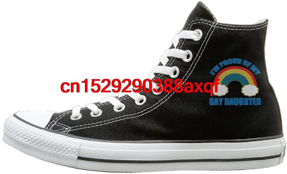 Chaussures Casual unisexes Garçons et Filles Chaussures de sport fier de Gay Fille toile Chaussures montantes Baskets Noir style unisexe