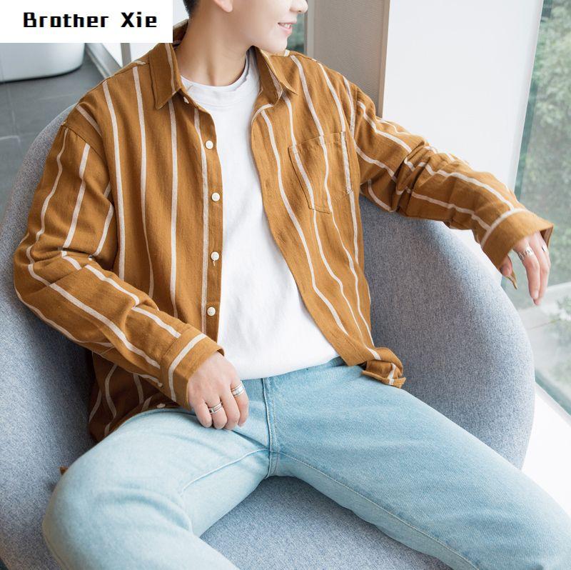 2020 pamuk Adam Gömlek Uzun Kollu Gömlek Erkek Moda Siyah Beyaz Dikey Çizgili Gevşek Yaka Casual Erkek Giyim