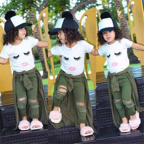 Menina de verão de manga curta emotiva jaqueta de camiseta branca + calças rasgadas dois conjuntos de roupas infantis Ins