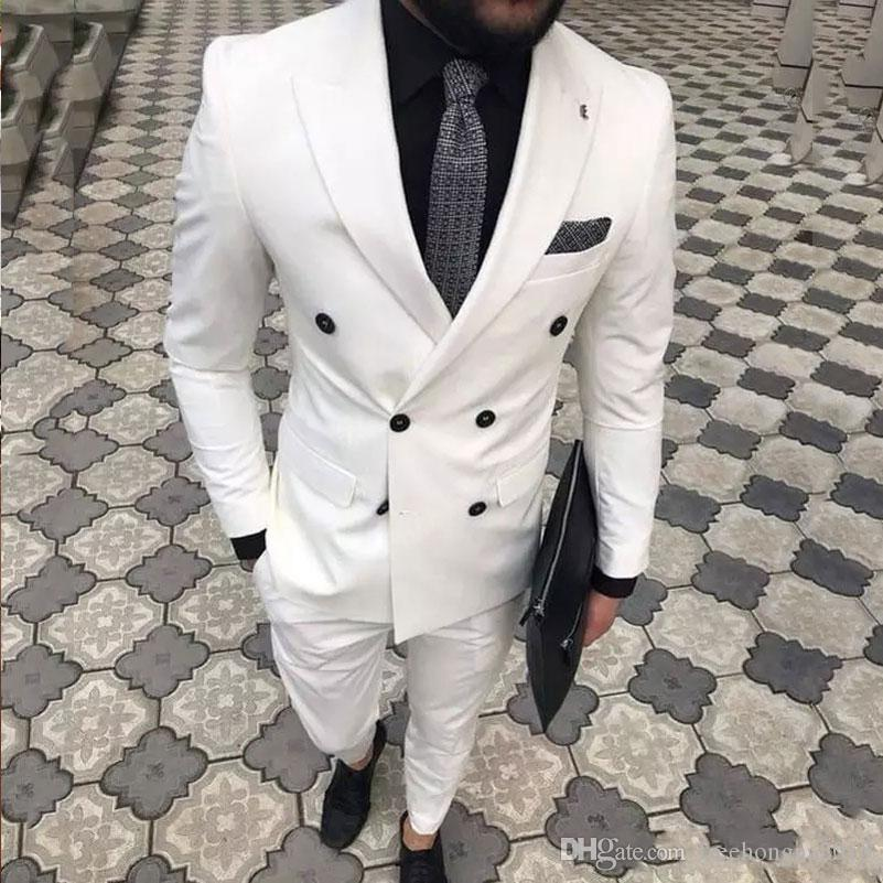 Slim Fit blanc Hommes Costumes de mariage Groom 2 pièces portent des smokings Epoux Costumes Best Man Prom affaires Porter Blazer