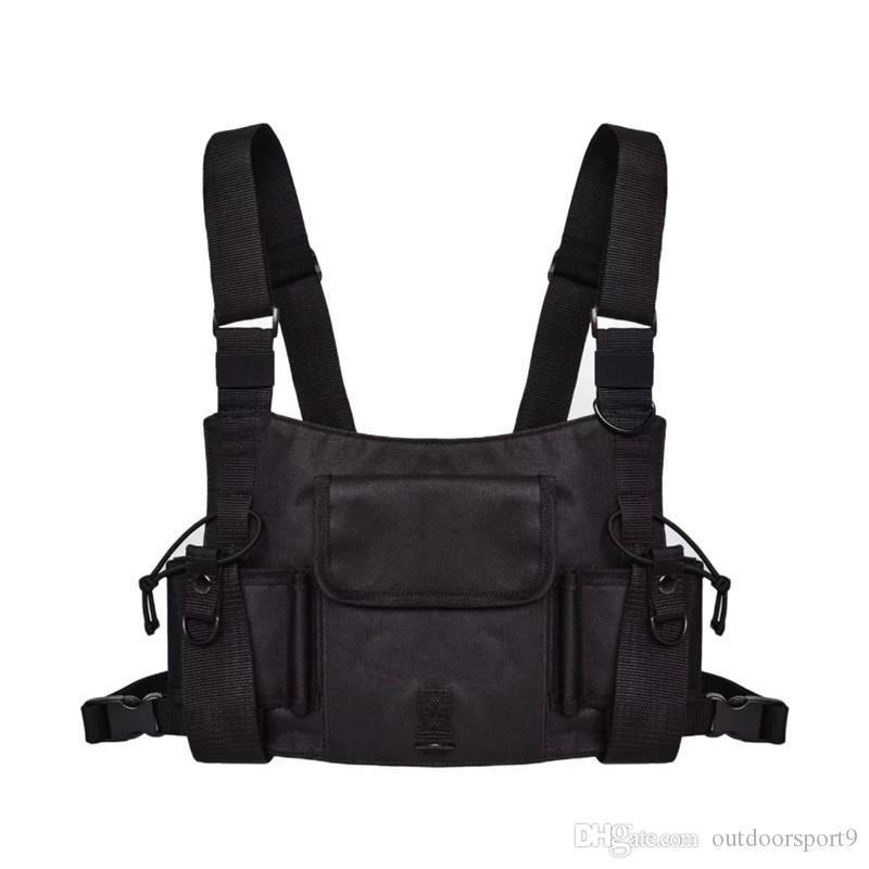 Hip hop pacotes de cintura Streetwear Kanye Moda Peito saco de nylon Ajustável Preto Vest Hip Hop Funcional Rig Harness Chest