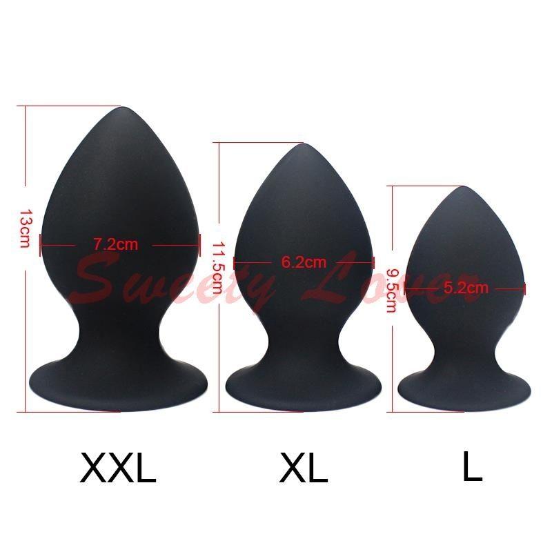 Big L 1) Super XL Размер для SH190802 Штекер набор Большие анальные вилки Роза / черные игрушки Женщина Мужчины Силиконовые Игрушки Анальный Секс Унисекс Секс в (3 XXL Butt MBVH