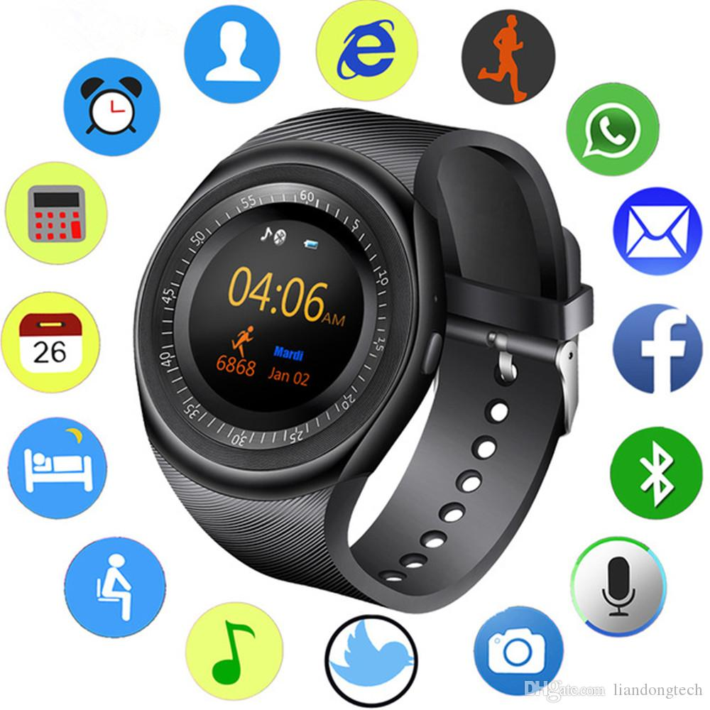 Y1 Bluetooth Smart Watch Wristband Bracelet with SIM Card Slot for android cellphones IPS Round Water Resistant with Retail Package
