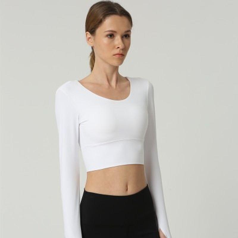 Febbraio progettista di marca di modo delle donne cinghie posteriori Gym Yoga Camicie Crop Tops Yoga manica lunga da allenamento fitness correnti di sport T-shirt