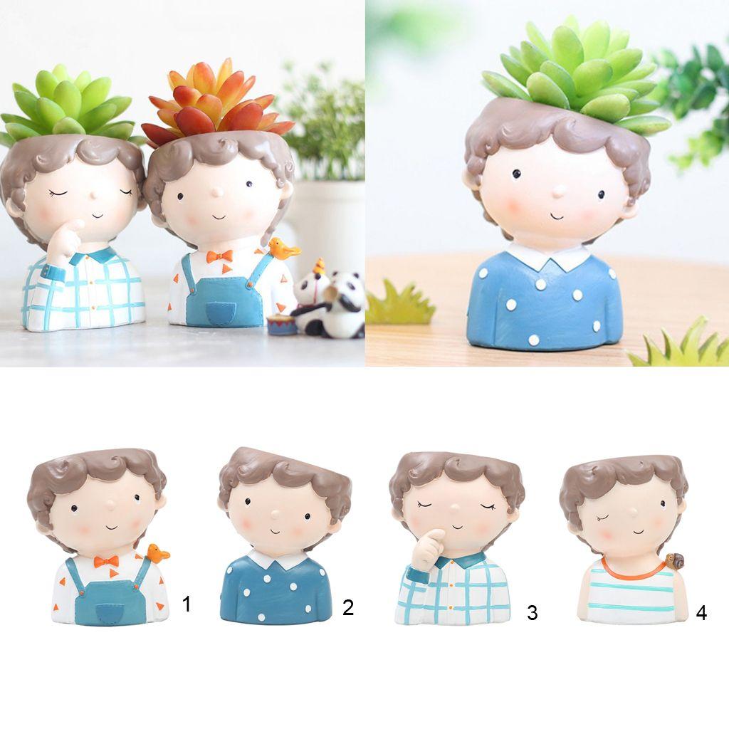 Girl & Boy Design Mini Flower Pots Cacti Succulent Plant Container Flowerpot Garden Planter Window Box Home DIY Decor