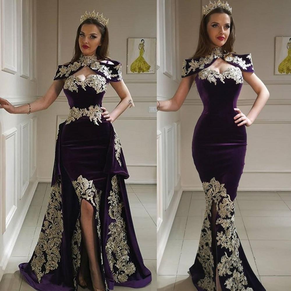 2020 Fashion Abendkleider der hohen Kragen SpitzeAppliques Side Split Abendkleider nach Maß abnehmbare Zug-Nixe-formales Partei-Wear