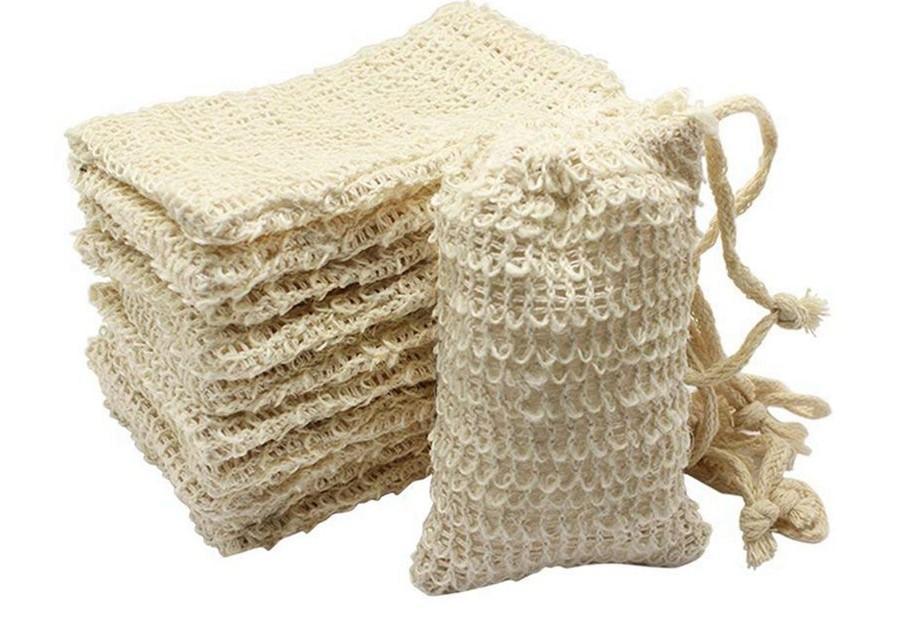Душевая ванна Sisal Sweal Bag Натуральный сисальный мыло Сумка Отшелушивающая Складная сумка Держатель 50 шт.