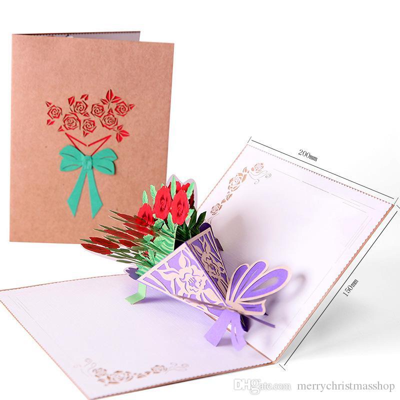 3D Rose Flower Popup Card Hollow Bouquet Biglietto di auguri FAI DA TE per San Valentino Festa della mamma Festa di compleanno Regali