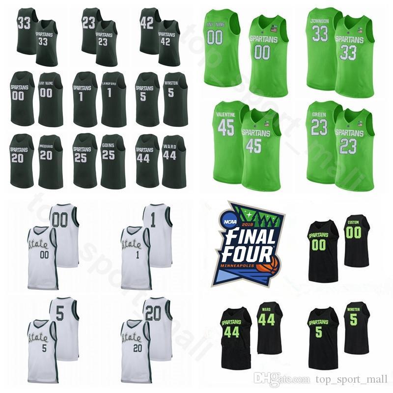 NCAA College Michigan State Spartans 5 CASSIUS WINSTON Maglia personalizzata Final Four Basket 1 JOSHUA LANGFORD 20 MATT MCQUAID 44 NICK WARD