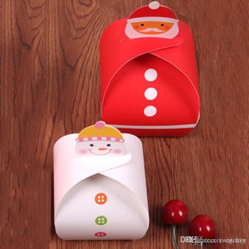 Caja de bricolaje de papel de navidad 2 colores diseño único Papá Noel envases de manzana plegable caja de papel caja de regalo de vacaciones del caramelo Shipping