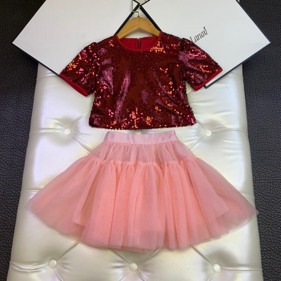 2020 New fashion children's clothes Girls Sequined short sleeve skirt two pieces sets high quality boutique clothes for baby girl