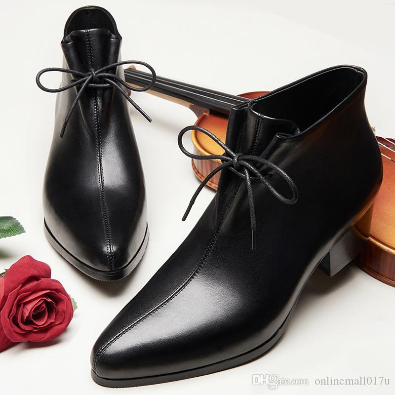 Acheter Toe Chaussures De Mariage Homme Chaussures D'hiver Robe Habillée Formelle Richelieus Rehausser Chaussures 5cm Talons Bottes Homme De $84.43 Du