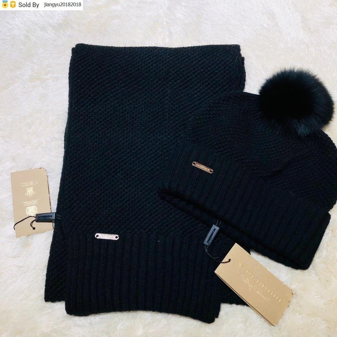 Christmas Gift Quality Woolen Scarf Hat Men Cashmere wool Fox hair ball hat 2pc 40653491 80071931 006 With Box