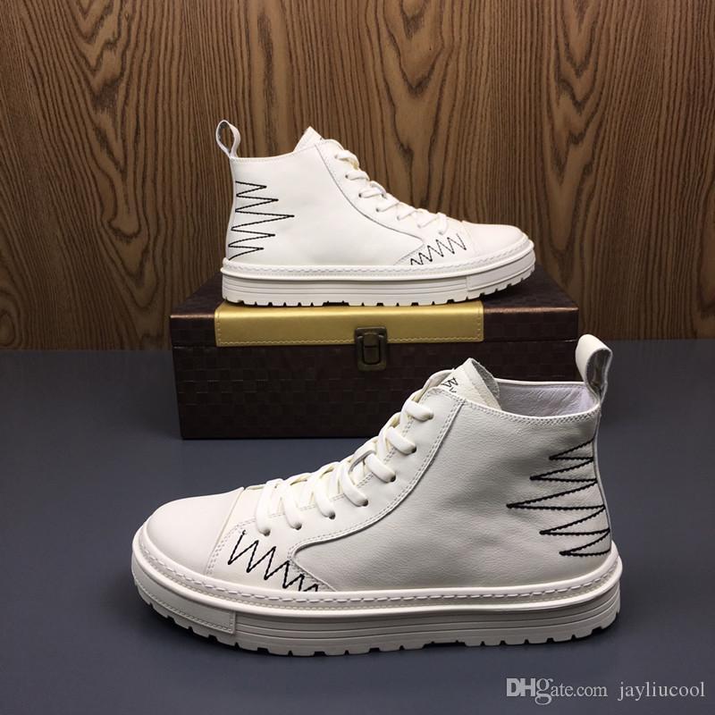 2019 automne et hiver de chaussures pour hommes Version coréenne de la tendance des chaussures pour hommes sauvages blanc haute Bang Shoes Leather Casual