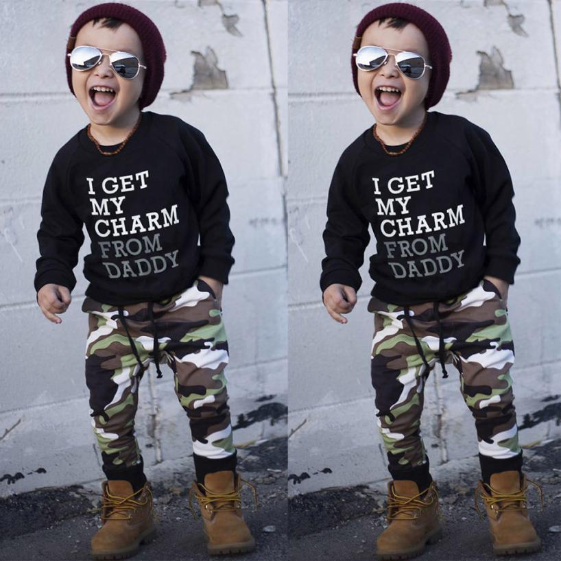 Niño carta bebé niño tapa de la camiseta + pantalones de camuflaje ropa del juego del bebé del juego de material fino fresco traje