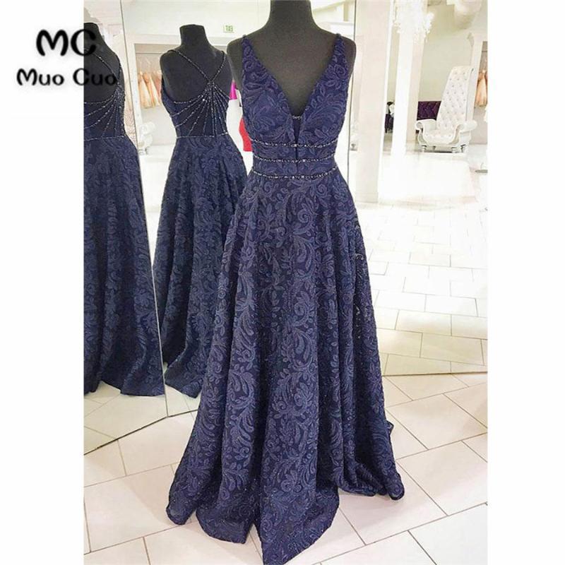 2018 Bleu marine Prom robes longues double col V profond Lace Tank Longo Vestido cristaux perlée Soirée formelle Robe