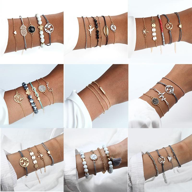 Bohemian estilo de Cristal Pulseira For Women 2020 Estrela do coração Vintage Fashion Lua Pulseira da cor do ouro cadeia de jóias.