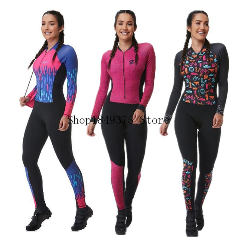 триатлон скафандр летние спортивные женщины с длинным рукавом длинные штаны езда на велосипеде набор Джерси комбинезона roupa Ciclismo feminina Uniforme 2020