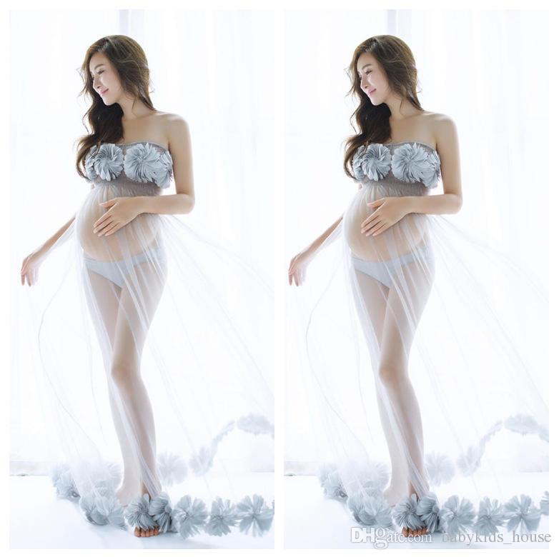 Abiti Flower maternità per Servizio fotografico Maternity Fotografia Props Gown Per vestiti dalle donne incinte Gravidanza Fotografia