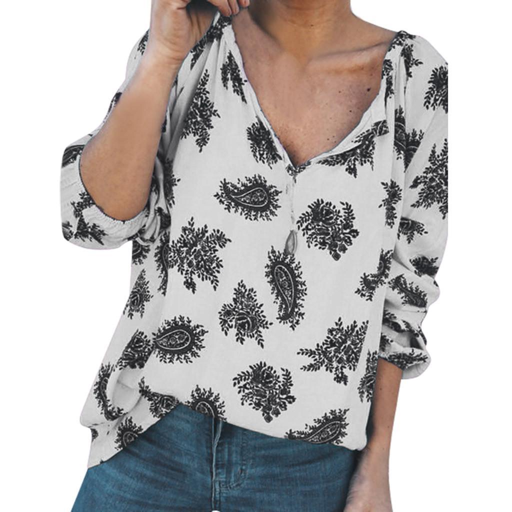 Bayan Bluz Yaz Moda Gömlek V Yaka Baskı Gömlek Uzun Gevşek Bluz Yaz Yeşil Streetwear Harajuku chemisier Femme Tops