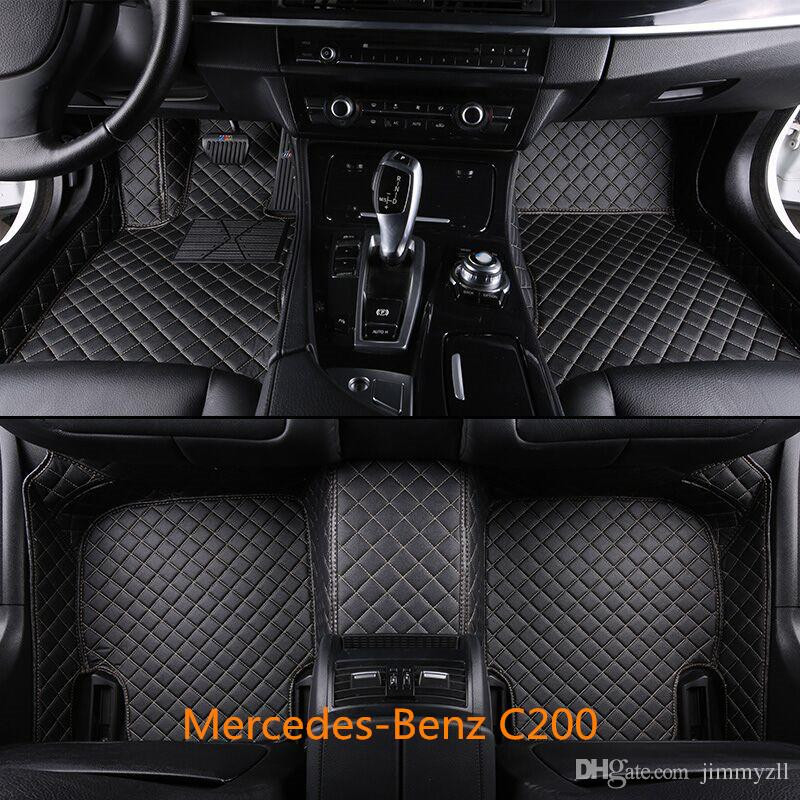 Luxury Man-Made Leather Car Floor Mats For Mercedes-Benz C200 2015-2016 Front and Second Row Offered 3 Pieces Car Mats