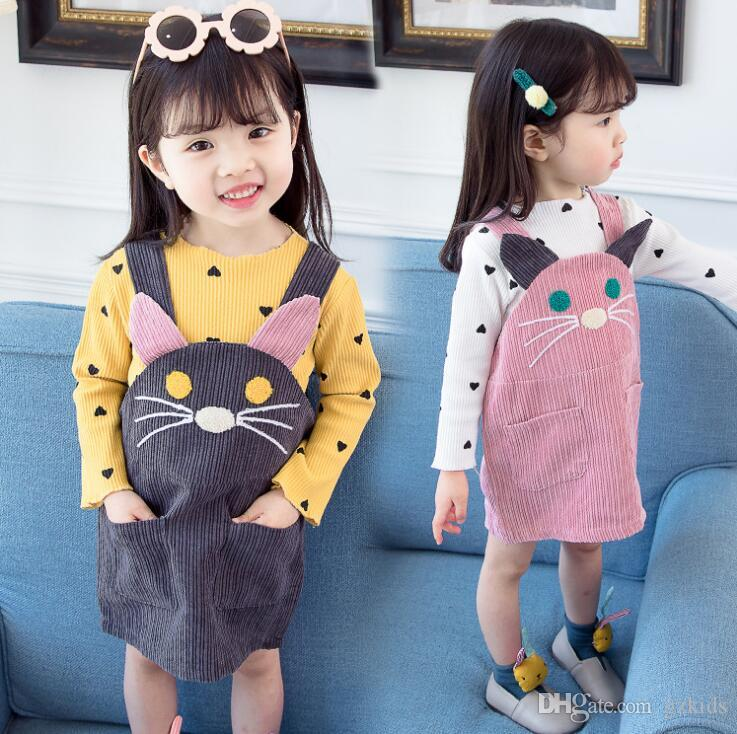Toddler Baby Girl Outfit Long Sleeve White Romper +Cartoon Cat Strap Skirt Tutu Skirts Outfits Set