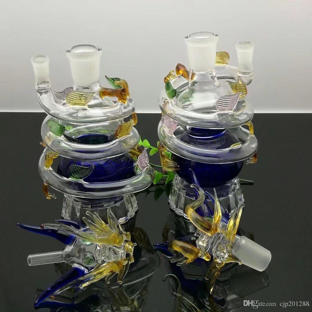 Bong di acqua di vetro di Panlong a spirale di multi colore Bong di vetro all'ingrosso Bruciatori a nafta Tubi di acqua di vetro Rigs dell'olio Fumo libero