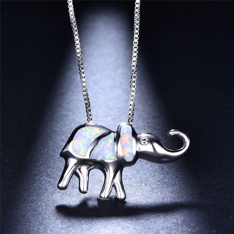 Boho Şanslı Fil Beyaz Yangın Opal Kolye Kolye Kadınlar Için 925 Ayar Gümüş Dolu Hayvan Takı Parti Aksesuarları