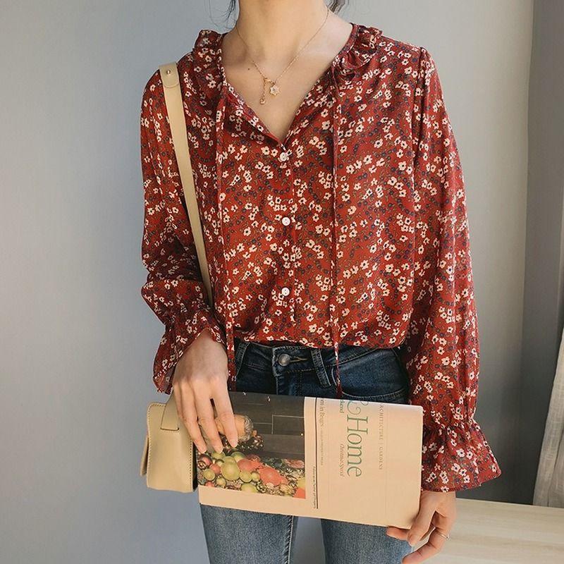 Kalenmos Blusas Casual Mulheres Blusa Pétala Sleeve Lace Up florais Shirts Feminino Primavera Verão 2020 Tops Harajuku coreano