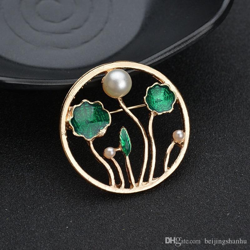Feuille de Lotus Pin pour les femmes Brooches Robe de soirée Mode Imitation Perle Broche écharpe Vêtements Bijoux Accessoires B259