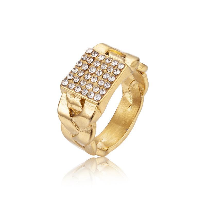 골드 도금 힙합 보석 약혼 반지 티타늄 스틸 라인 석 남성 손가락 반지 빛나는 높은 품질의 힙합 링