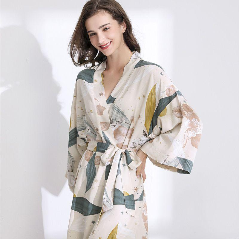 Para julio en Nueva Canción dormir Robe primavera delgada de algodón de seda del camisón de las mujeres impresa flor de manga larga pijamas de mujer Albornoz CX200704