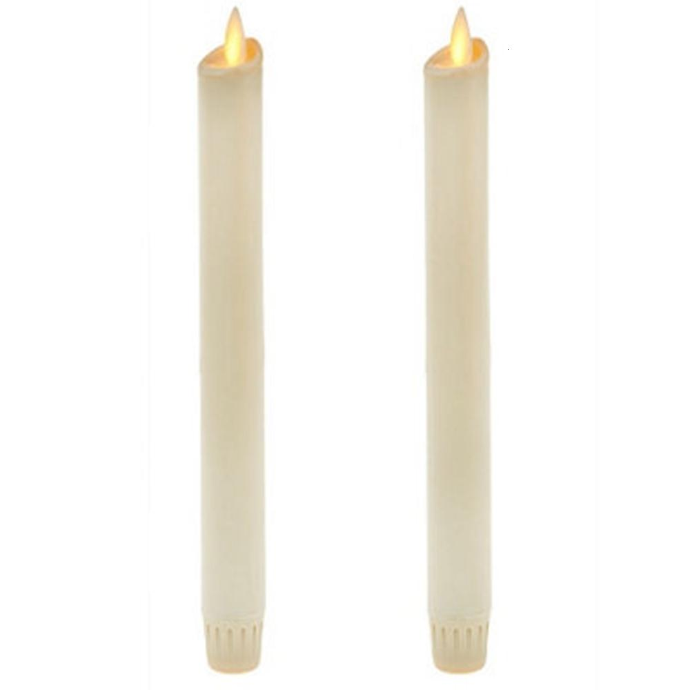 Ksperway Flameless Moving Wick LED Taper Candles Real Wax with Timer and Remote for Home Decoration Set of 2 T191026