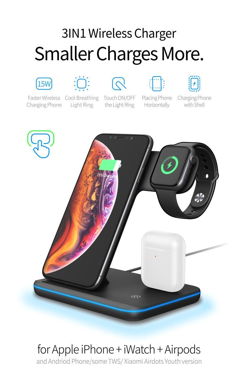 Универсальное быстрое зарядное устройство 15 Вт Qi беспроводное зарядное устройство для Iphone X 8 Xiaomi Quick Charge 3.0 док-станция для Iphone Airpods Watch 4 3 2 1
