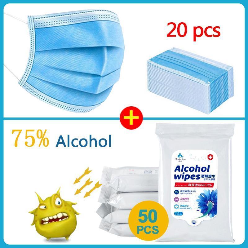 50PCS 상자 소독제 닦음 알콜 닦음 알코올 / 온수 판매 3 층 마스크 20PCS 얼굴 입 마스크 응급 처치 청소 조직