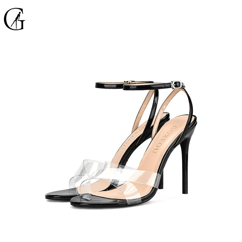 GOXEOU Kadın Topuklu Sandalet Rugan Şeffaf Ayak bileği Kayış Toka Yuvarlak Burun Stiletto Moda Yüksek Topuklar Boyut 32-46 T200618
