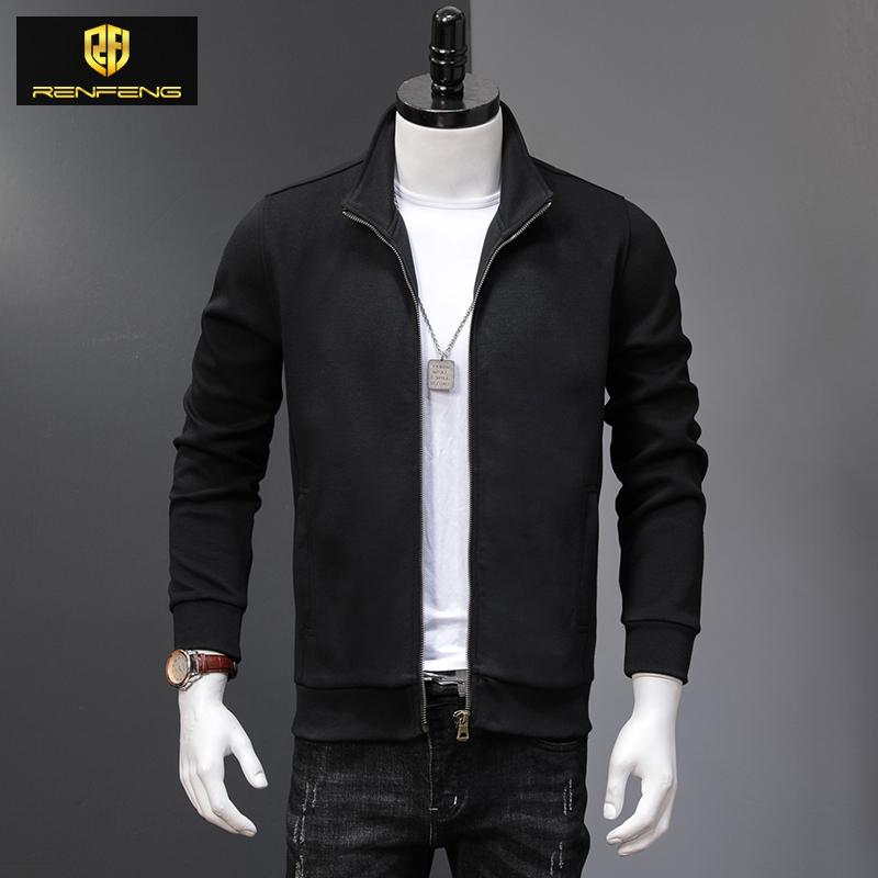 Cardigan classique Automne Pull Homme Col Stand Casual chandails Manteaux Vintage Slim Tricot solides Pulls Tricot