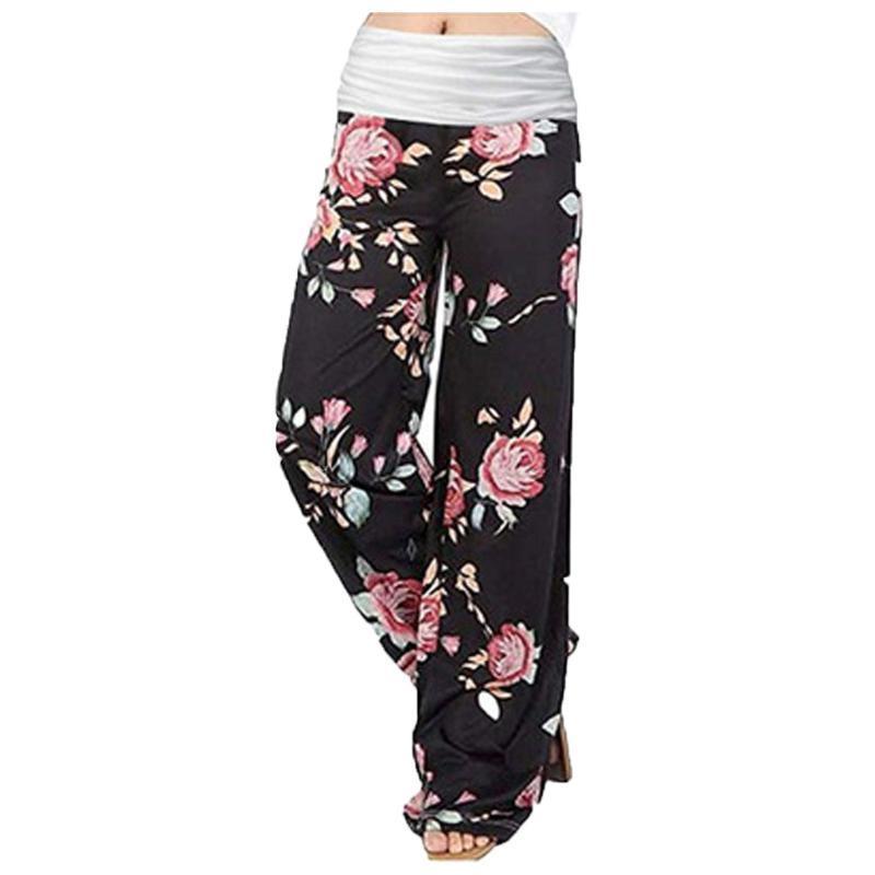 البوهيمي الزهور طباعة على نطاق واسع الساق السراويل النسائية بيغيني عارضة السراويل عالية الخصر فضفاض مريح طويل بنطلون بنطال رياضة المرأة اللباس