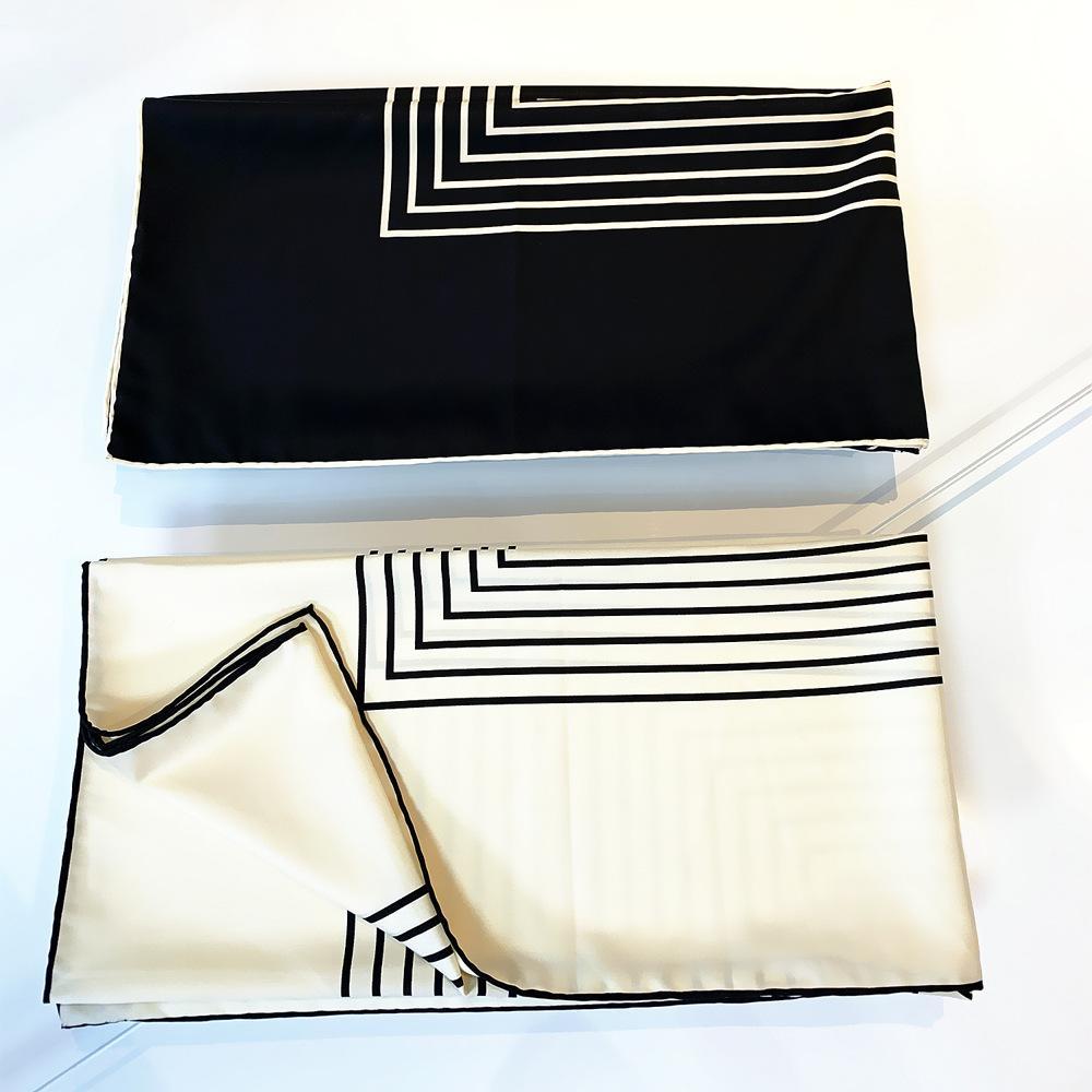 Новый европейский и американский черный шарф полосатый узор большой квадратный шарф со всеми видами 90 см шарфов ручной работы