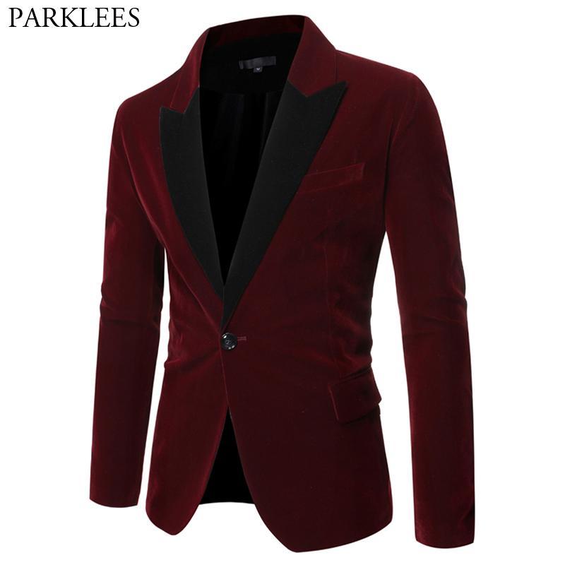 Vin Rouge Un Bouton Velours Blazer Veste Hommes 2020 Patchwork Col Slim Fit Costume Veste Mâle De Noce Casual Blazer Hombre