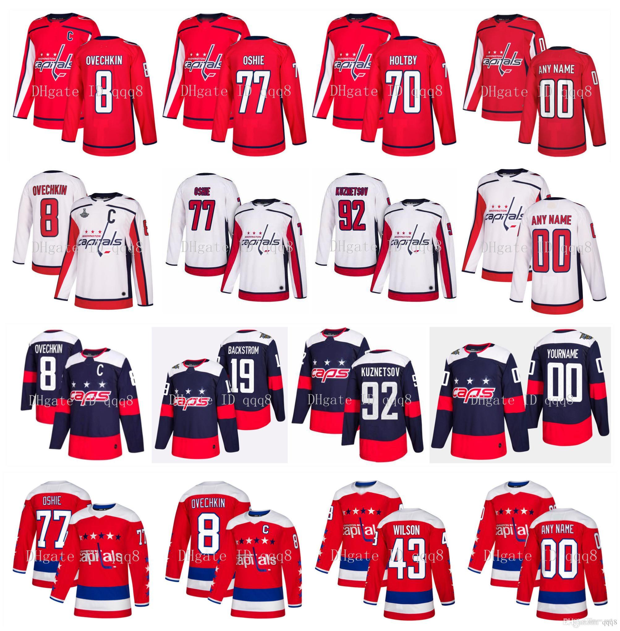 Washington Capitals Jersey 8 Alex Ovechkin 19 Nicklas Bäckström 43 Tom Wilson 92 Evgeny Kuznetsov 77 TJ Oshie 70 Braden Holtby Hockey Jersey