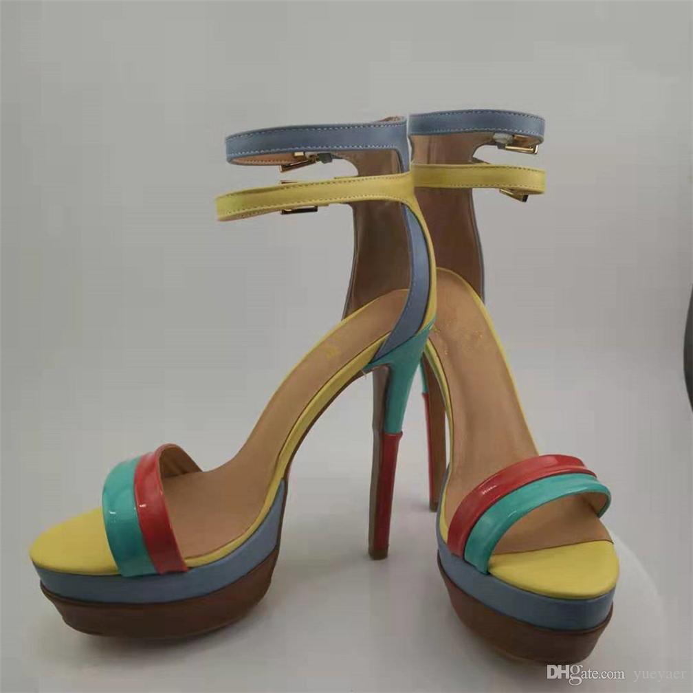 Kolnoo Realpics Sandalias de tacón para mujer Patchwork Hebilla Correas Sandalias de verano Sexy D'orsay Fashion Party Office Stiletto Shoes D269