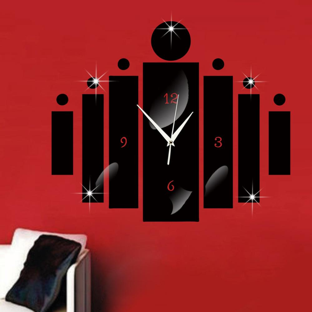 Mirror Digital Wall Clock Wall Stickers Watch 3D Living Room Bedroom Study Home Design Decoration Silent Clocks Black Silver