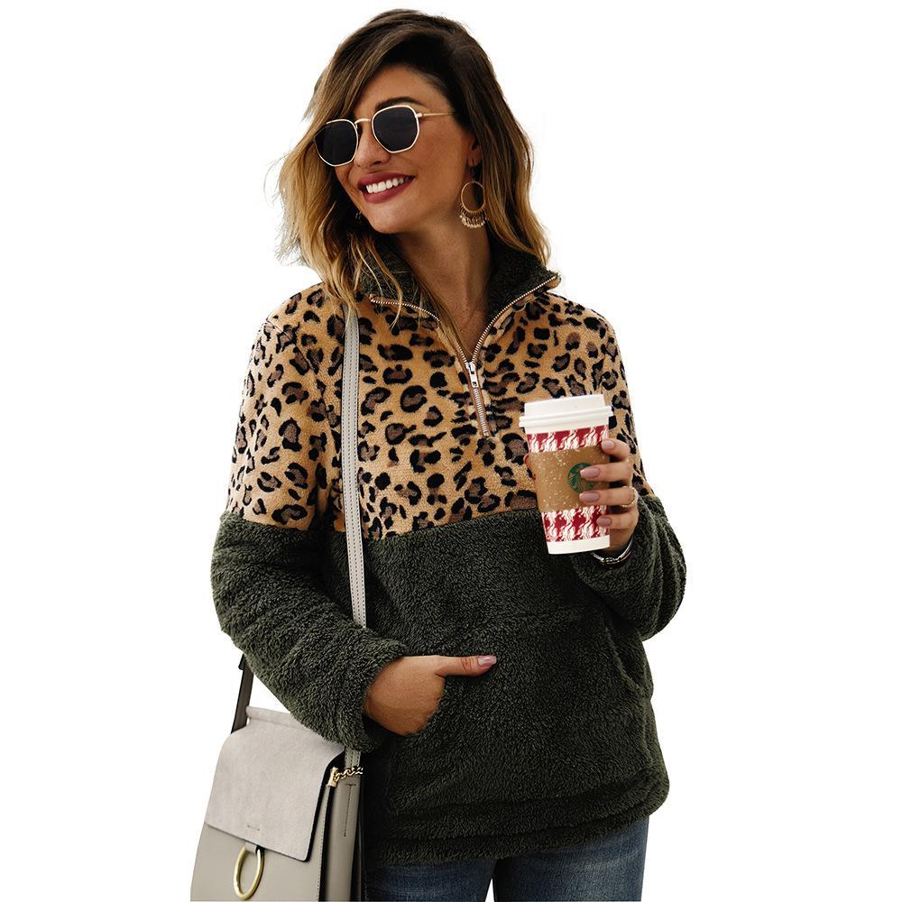 2019 Inverno camisola de lã moda leopardo retalhos Fluffy Camisolas revestimento morno Zipper capuz Mulheres Autumn Tops Além disso,