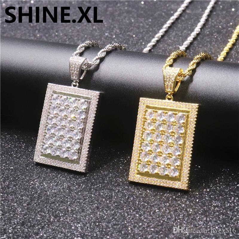 Hip Hop Carré Plein De Diamant Pendentif Micro Incrusté Zircon Collier De Cuivre Or Argent Plaqué Mens Bijoux Cadeau