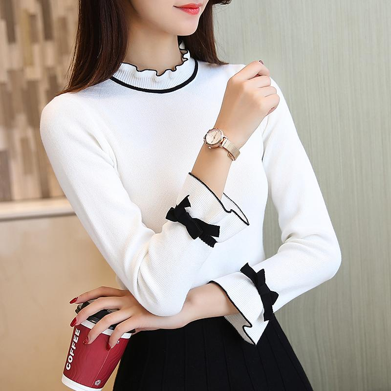 Maglioni e pullover coreani per le donne Solido maglione lavorato a maglia a maniche lunghe maglione femminile Slim Pull femme G77