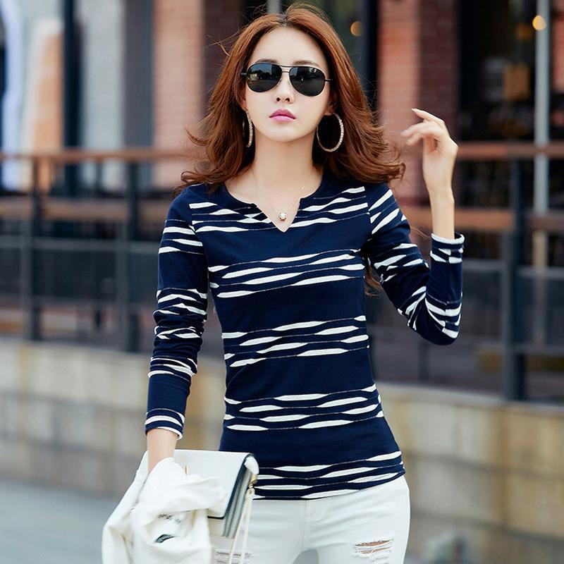 T Women Long Sleeve Tshirt Woman Camisetas Mujer Striped Womens Tops Casual T-shirts Plus Size Blue Tee Shirt Femme Q190518
