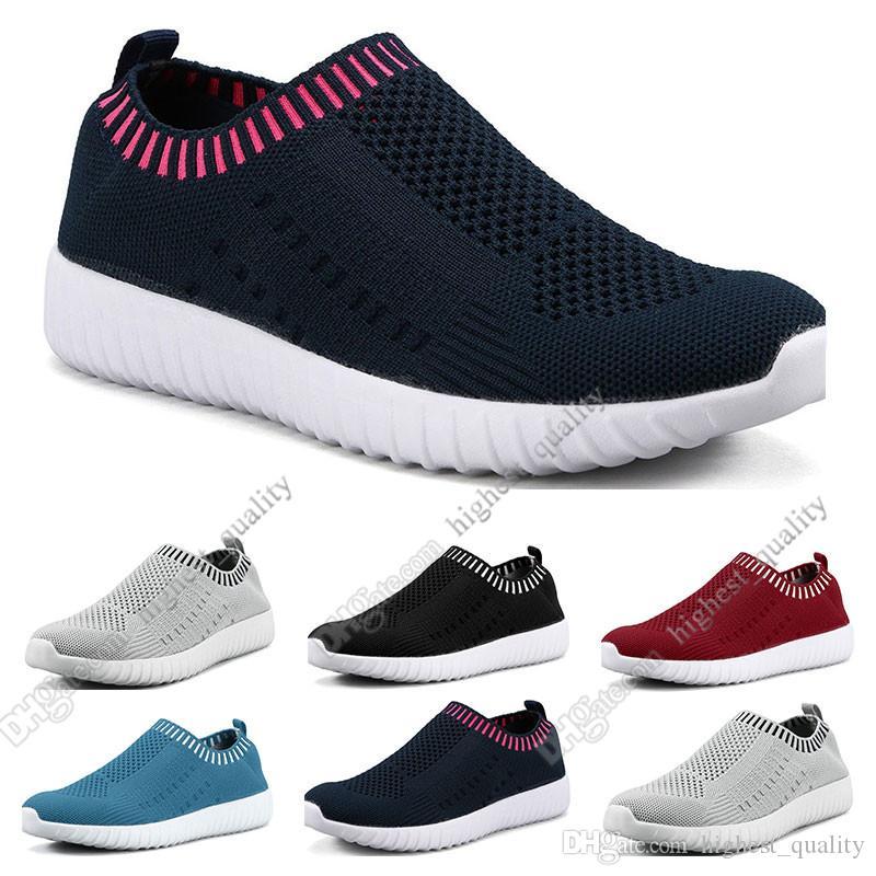 sapatos a melhor venda mulheres de grande porte voando as sapatilhas das mulheres um pé respirável sapatos leves esportivos casuais tênis Quatro
