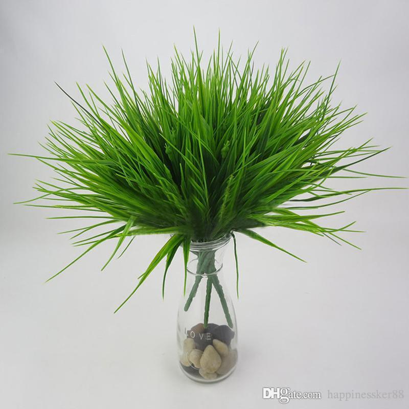 Искусственные цветы с листьями зеленая трава пластиковые растения поддельные листья Листья кустарник для домашнего свадебного украшения праздничные принадлежности