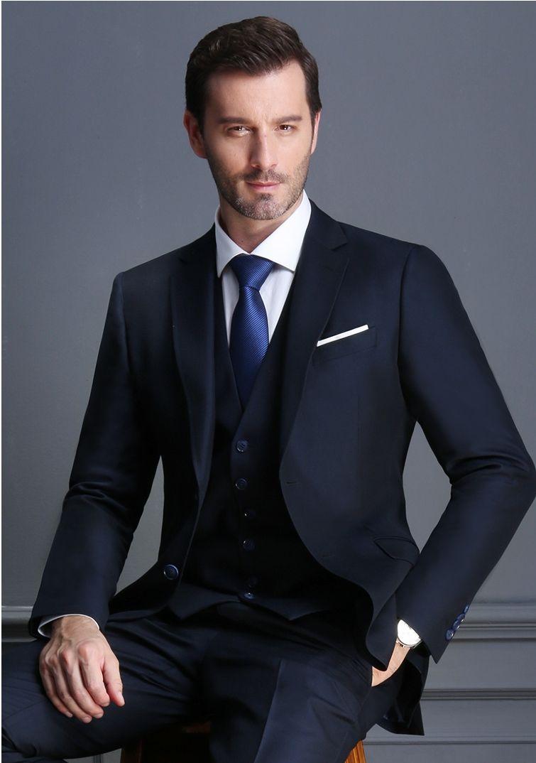 Vapel Groom Tuxedos 2 Bouton Hommes Costumes Business Hommes Casual Costume Robe Double Slit Slim Robe de mariée (veste + pantalon + gilet) HY6205